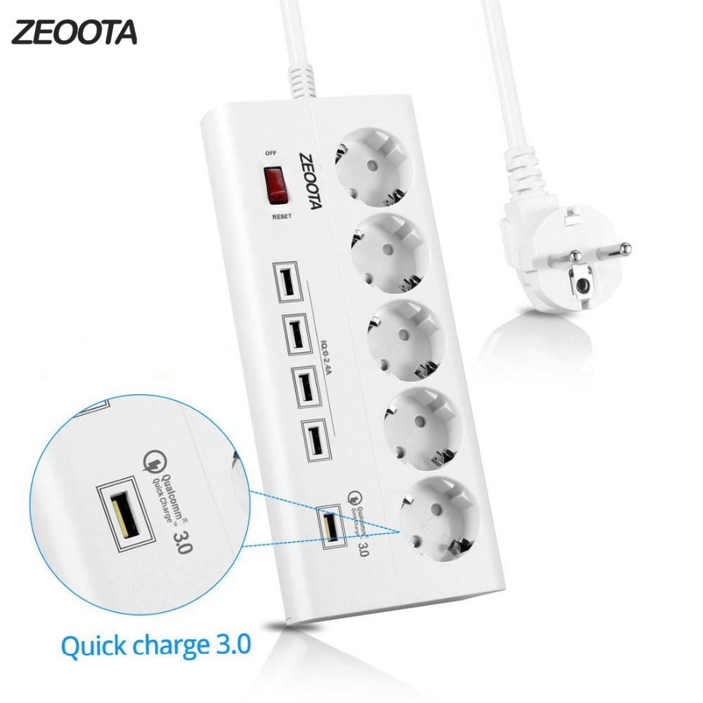 Power Strip 5 EU Outlets Plug Socket with USB QC 3.0 Quick Charge Port for Smartphones