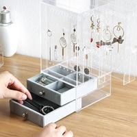 New Acrylic Jewelry Organizer Box for Necklace Display Storage Case Earrings Bracelet Hanger Decoration Girls Gift Women Makeu