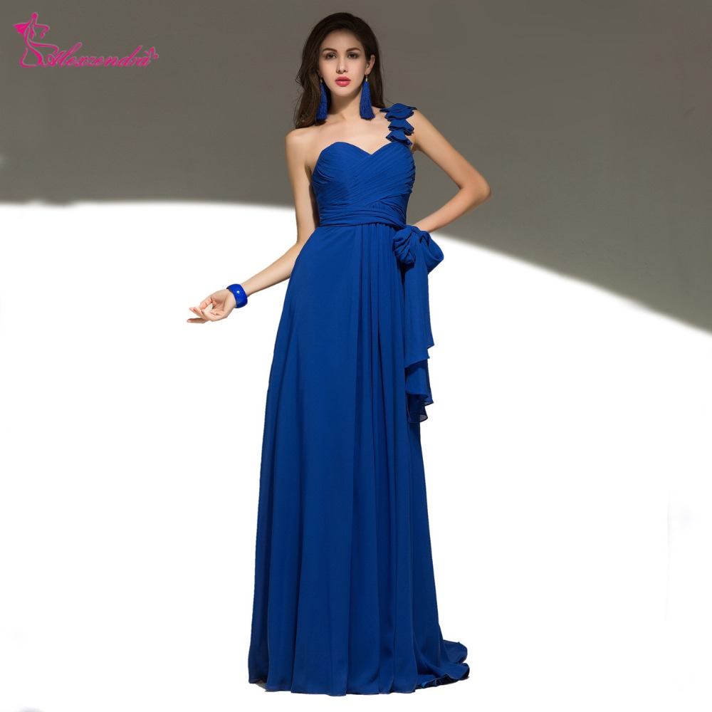Alexzendra Royal Blue Chiffon One Shoulder   Bridesmaid     Dress   for Wedding Party Gown   Bridesmaid   Gown Plus Size
