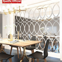 Large oval pattern acrylic mirror stickers office living room dining room bedroom TV background wall decoration wall stickers