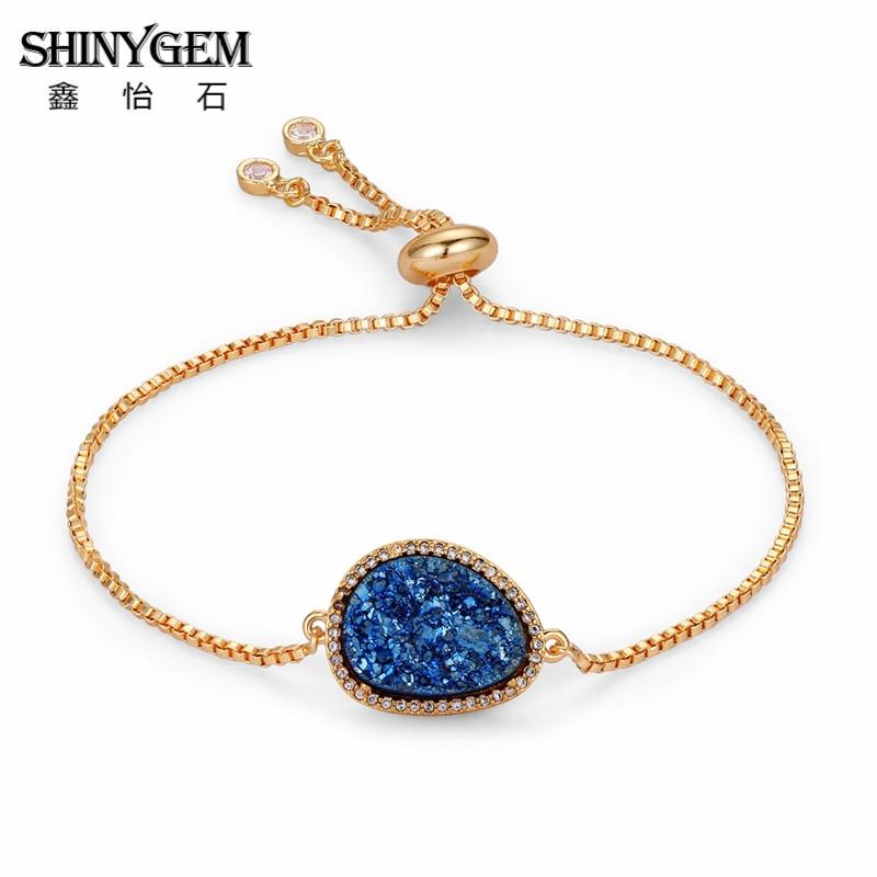 New Fashion Women Dress Stone Druzy Agates Charm Natural Bracelets Statement Jewelry Party Gift