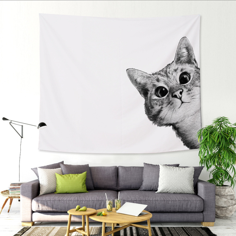 1Ps Black White Cute Cat Dog Tapestry Wall Hanging Wandbehang Gobelin Blanket Dorm Home Decor Mantas Mandalas 229x150CM Size