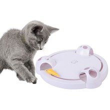 1PC Funny Cat Interactive Pet Toys Automatic Rotating Play Teaser Plate Mice Catch Toy Electric Playing Exercise