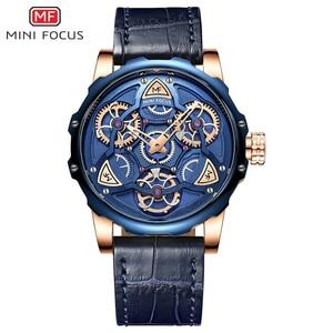 Image 3 - MINI FOCUS Blue Leather Quartz Watches Men Luxury Army Sports Wristwatch Man 3 Bar Waterproof Top Brand Relogios Masculino 0249G