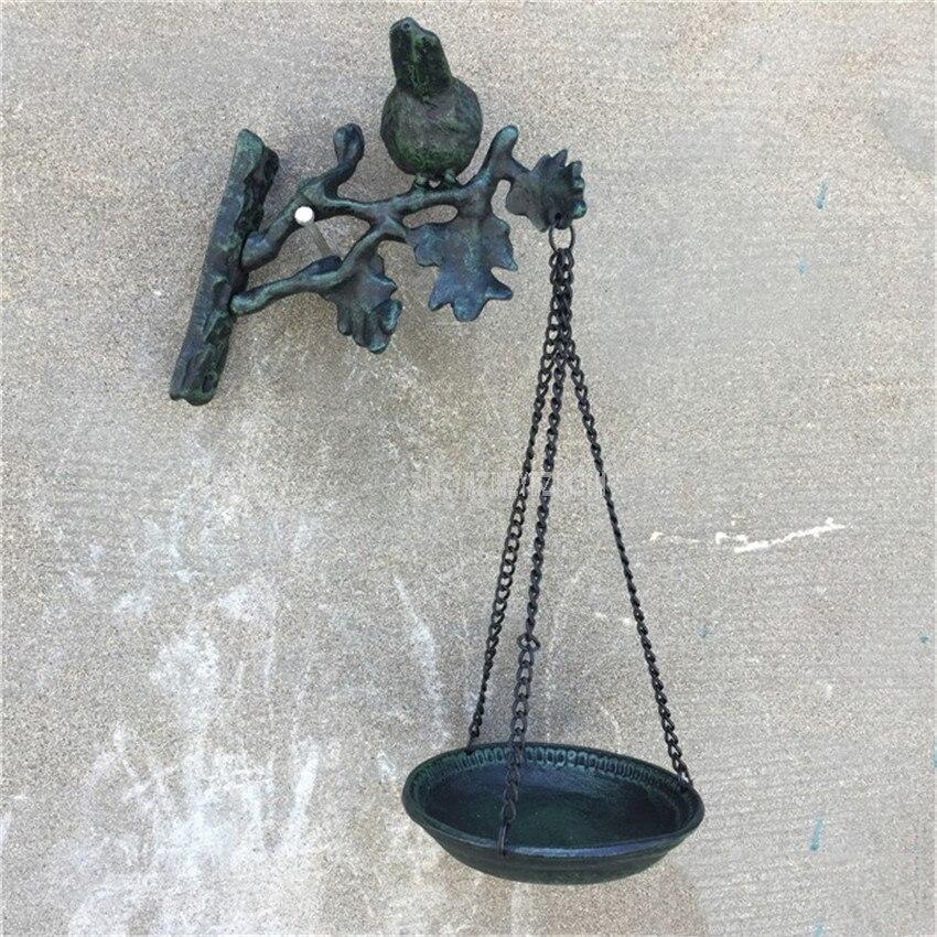 Mangeoire pour oiseaux décorative en métal vieilli suspendu en fonte dark green mangeoire à oiseaux Antique pour oiseaux sauvages alimentation murale pour la maison/extérieur