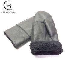 Winter Work Gloves Men Sheepskin Gloves Genuine Leather Gloves For Men Winter Outdoor Warm Fur Thick Gloves