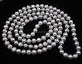 "Envío gratis longitud 45 "" 9 mm gris perla cultivada collar"