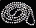 "Free shipping Length 45"" 9mm grey cultured pearl necklace"
