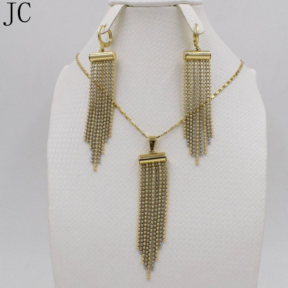 Women Jewelry Sets Dubai 2016 Unique Design Mix Platinum/18K Plated Two Tone Round Earrings Pendant Necklace