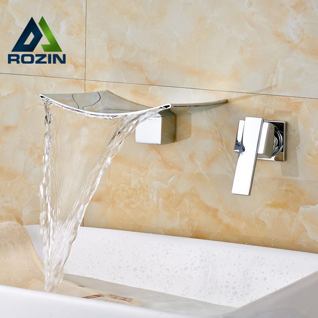 Bright Chrome Single Handle Brass Waterfall Basin Sink Taps Wall Mounted Two  Hole Bathroom Vessel Sink