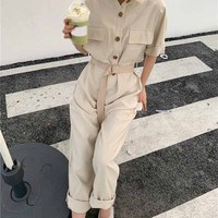 Single Breasted Casual Wide Leg Jumpsuits Loose Short Sleeve Women Rompers Summer Sashes Lace Up High Waist Sashes Jumpsuits