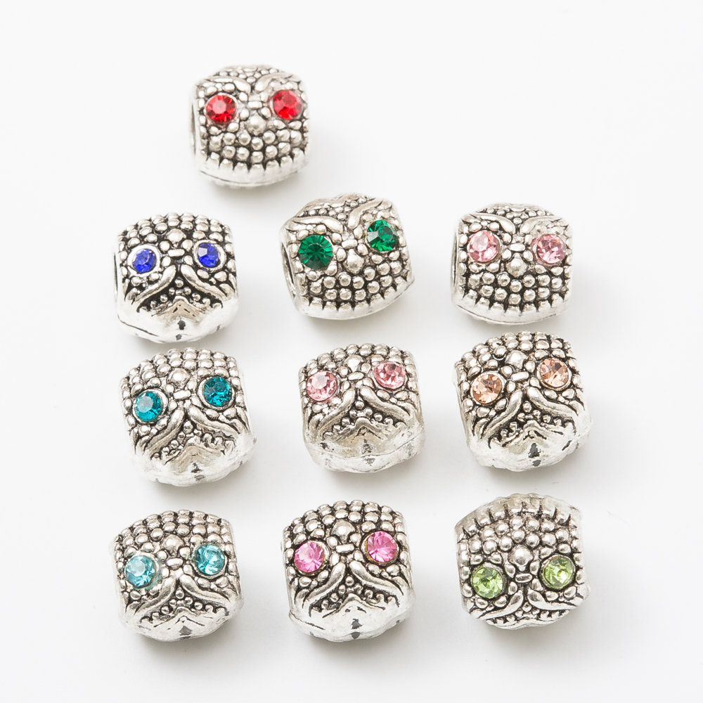 20pcs owl European beads Fit Pandora Charms Original Bracelet Spacer Charm Beads Jewelry Making DIY js1177