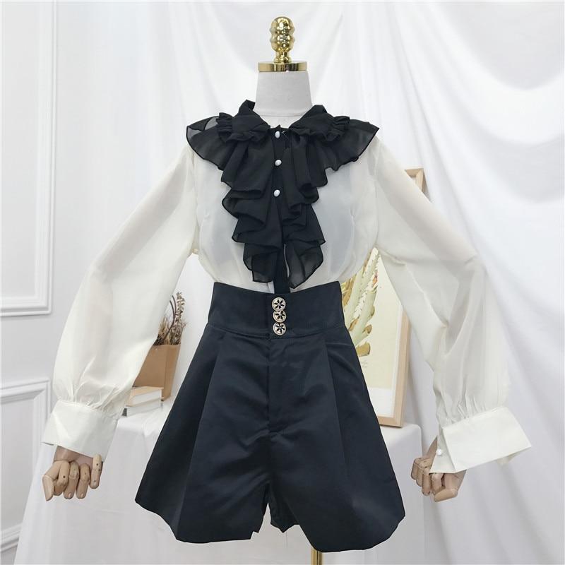 2019 Spring New Korean Women's Loose Long Sleeve Ruffles Chiffon Shirt + High Waist Wide Leg Shorts Girls Lady Two-piece Suit