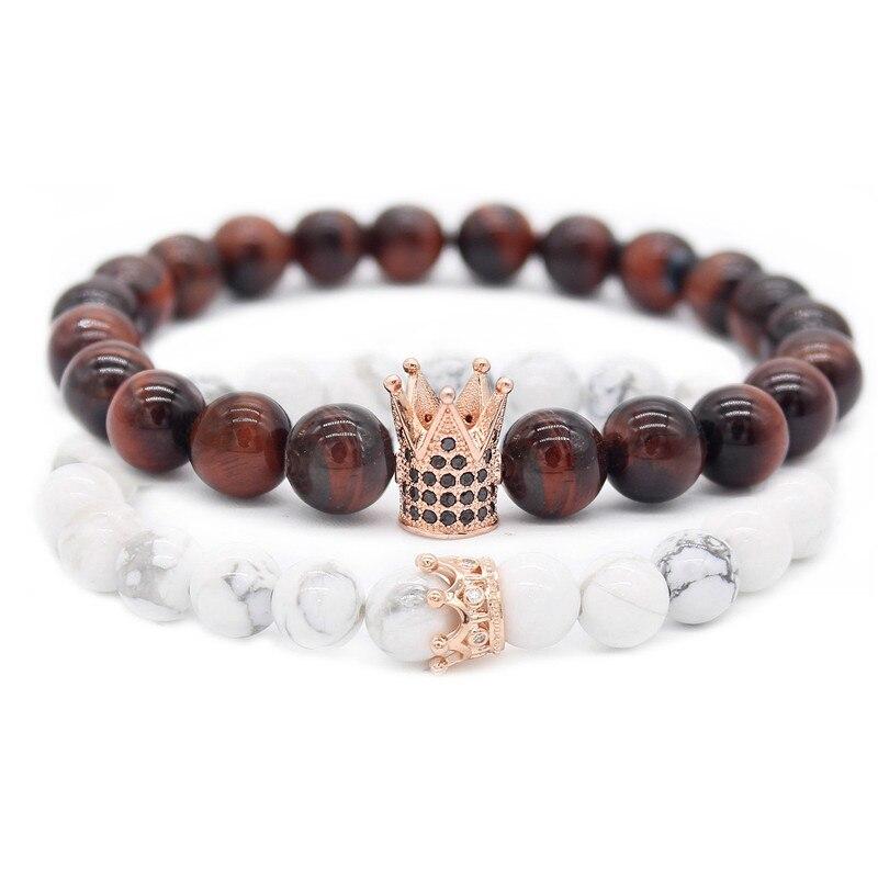 Poshfeel Cz Crown Armbänder & Armreifen 8 mt Natürliche Stein Perlen Paar Armband Set Valentinstag Geschenk