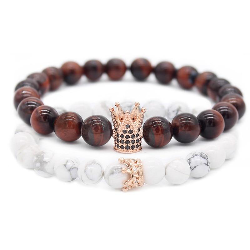 Poshfeel Cz corona pulseras y brazaletes 8 m con piedra Natural pulsera de pareja de regalo de día de San Valentín