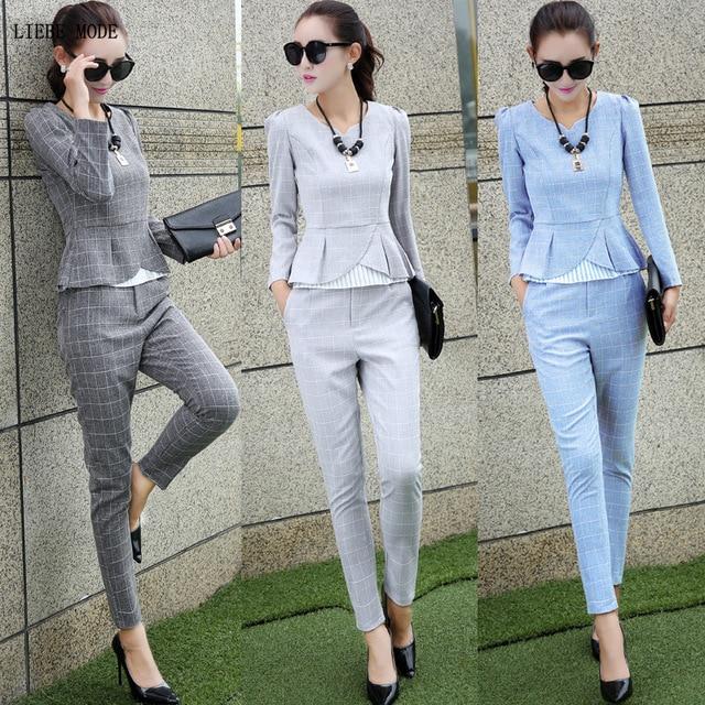 Femmes 2 pièces ensemble vêtements Crop pantalons et haut costume femmes bleu gris Plaid à manches longues chemise et pantalon costume coton linge tenues