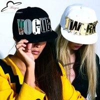 Spiegel Acryl custom letters fashion mannen vrouwen sport baseball caps bezaaid snapback hoeden voor man vrouw