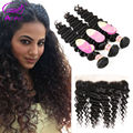 Hot Indian Deep Wave With Frontal  Beauty Hair Pre Plucked Frontal With Bundles Indian Deep Curly Virgin Hair With Frontal