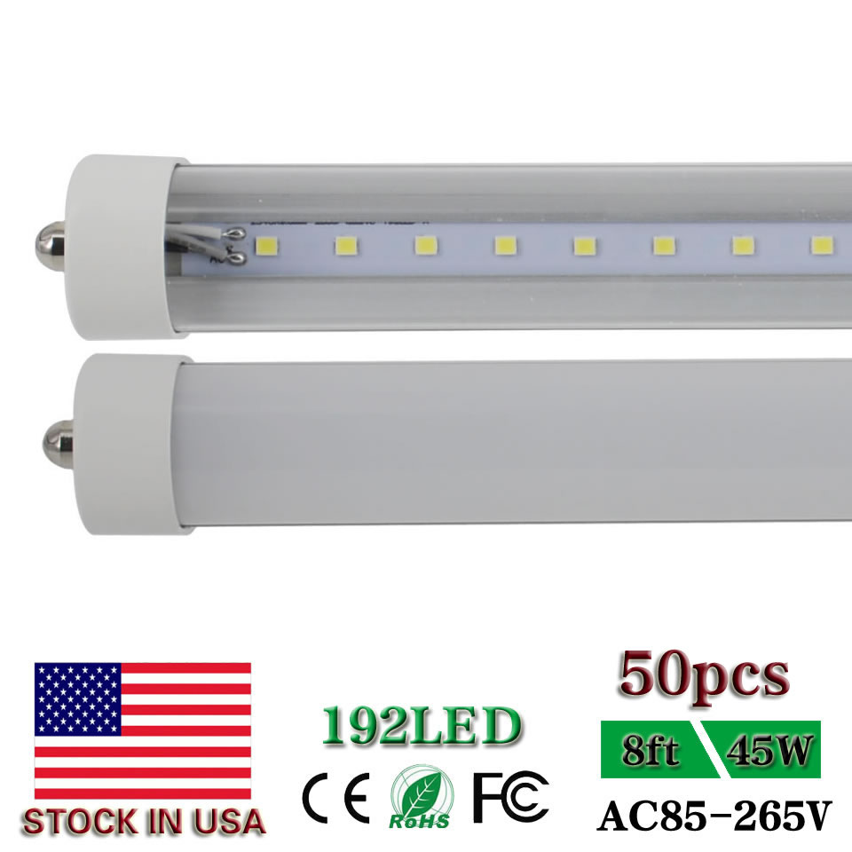 Us 556 0 8ft Led Tube Light T8 Fa8 Single Pin 8 Foot Led Bar Lamp Dual Ended Power Clear Milky Cover 45w Replace 96 Fluorescent Bulb In Led Bulbs