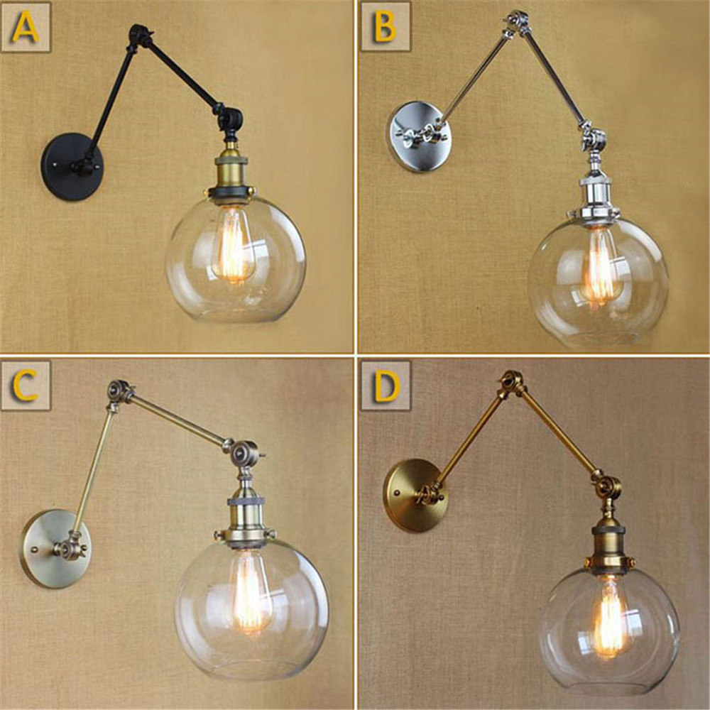 Black Chrome Bronze Gold Swing Arm Wall Lights Globe Glass