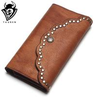 TAUREN Brush Color Clutch Anchor Nail Genuine Leather Women Wallets Purse Long Design High Capacity Cell