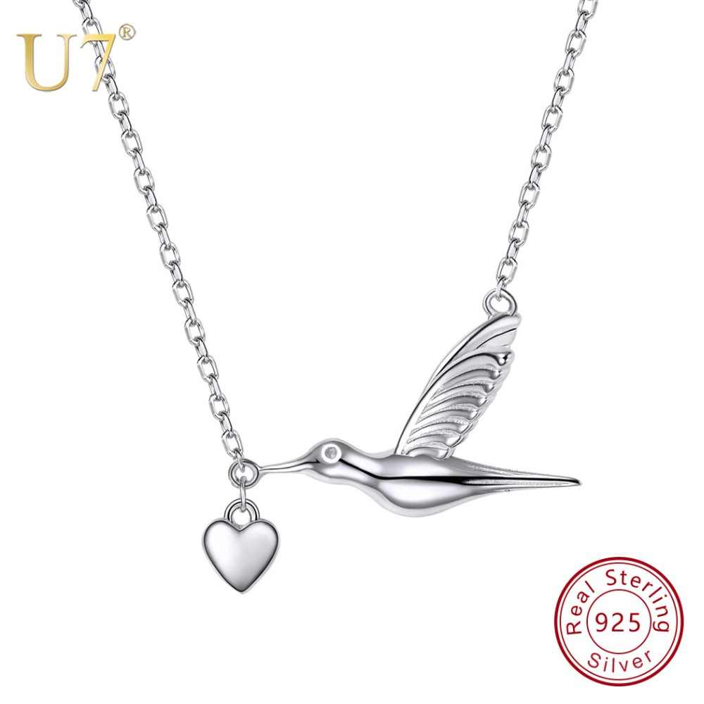 U7 100% 925 Sterling Silver Bird Flying With Heart Pendant & Chain Valentine's Day Gift For Women Animals Jewelry Necklace SC43
