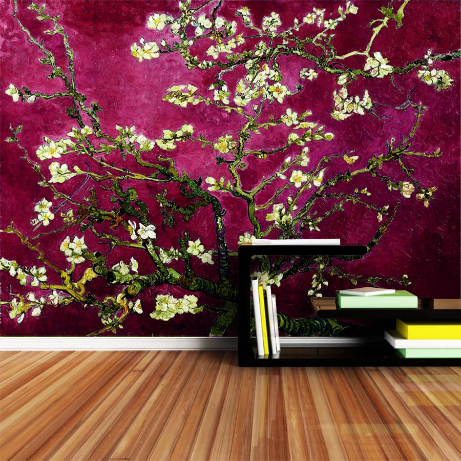 Fotobehang Van Gogh Us 16 36 Off Shinehome Dark Red Van Gogh Almond Blossom Wallpaper Rolls For 3d Walls Wallpapers For 3 D Living Rooms Wall Paper Murals In