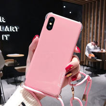 for iphone XS max XR X Anti-knock Candy color Case for iphone 8plus 7 8 6 6s Plus Corner anti-fall case protective cover +strap(China)