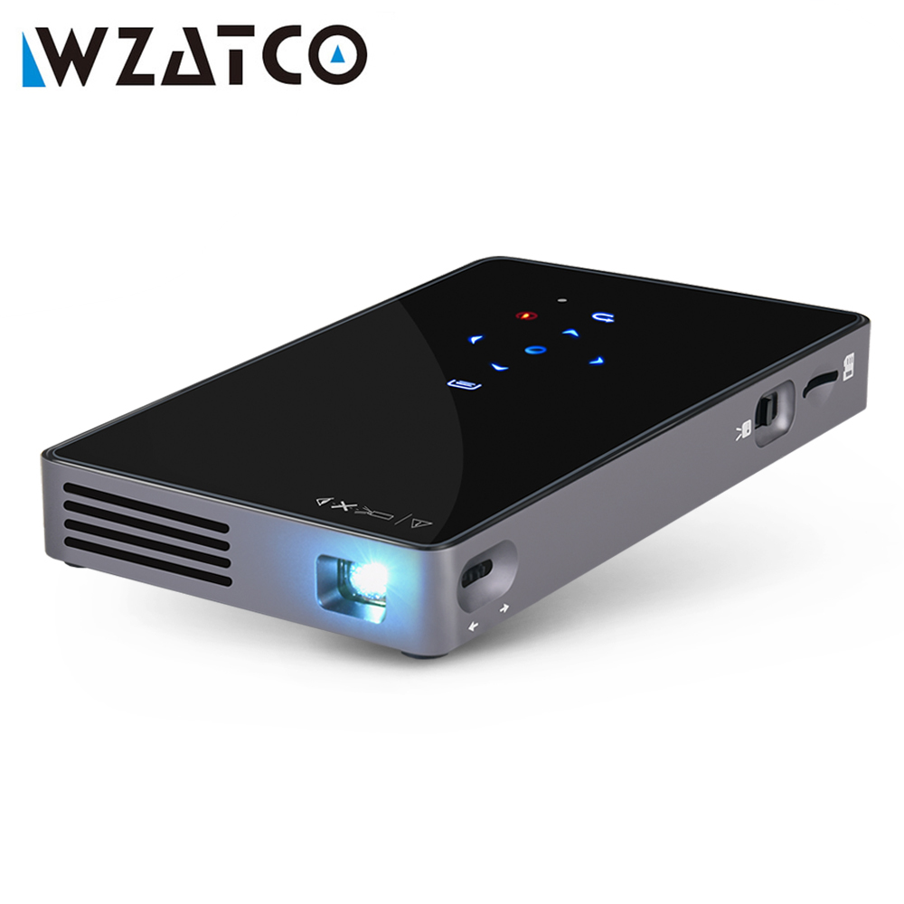 WZATCO CT50 Android 4.4/7.1 Mini Led Projector Portable Smart WIFI Bluetooth Projector HDMI USB SD Home Theater Beamer Proyector cheap china digital 1000lumens hdmi usb home theater best hd 1080p portable pico lcd led video mini projector beamer proyector