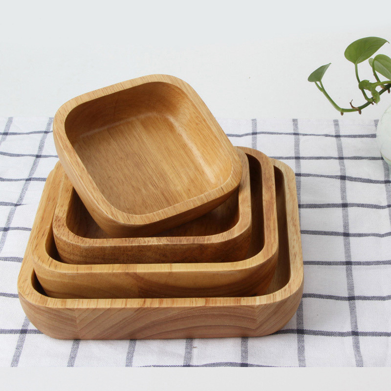 1pcs Japanese-style Wood Square Salad Bowl Large Tableware Fruit Snacks Dish Dinnerware