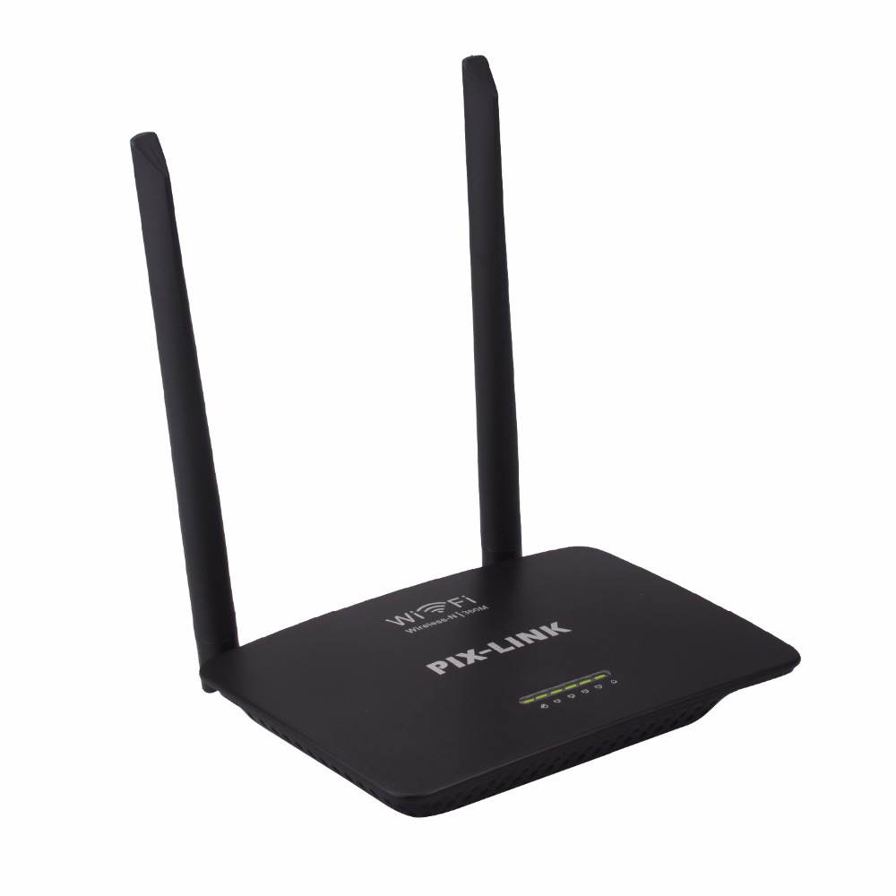English Version Wireless WIFI Router PIXLINK WI-FI Repeater Booster Extender Home Network 802.11 b/g/n 5 Port RJ45 300Mbps Black