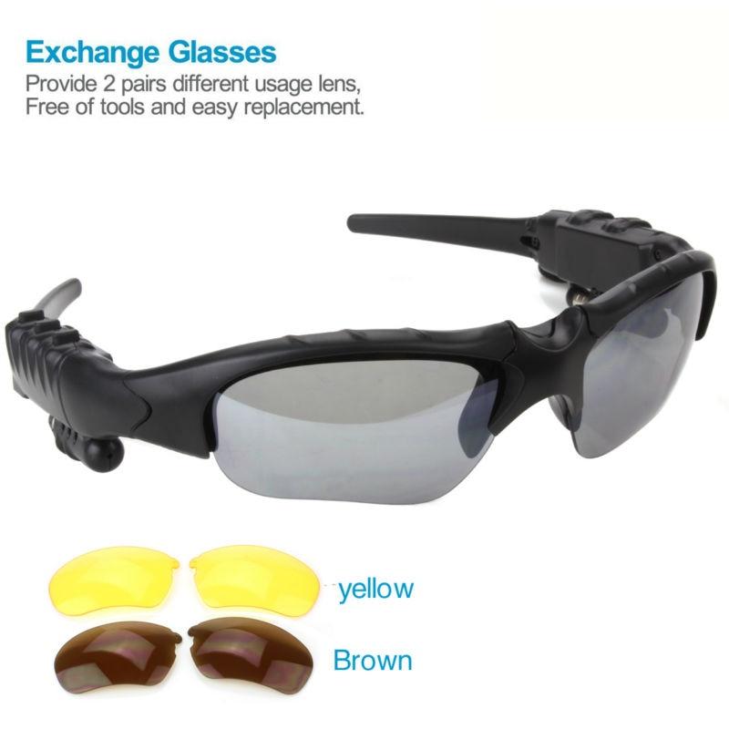 Bluetooth Sunglasses V4.1 Wireless Music Bluetooth Headset Sports Stereo Headphones +Free Replaceable 2 pair lens (Yellow,Brown) le zhong da cx 2 bluetooth sports headphones