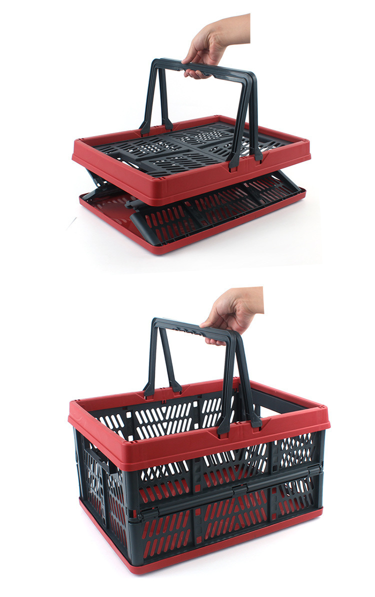 Collapsible Plastic Storage Crate With Folding Handles