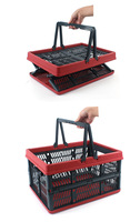Collapsible Plastic Storage Crate with Folding Handles Container Grated Wall Foldabl Utility Shopping Carry Basket Tote Handle
