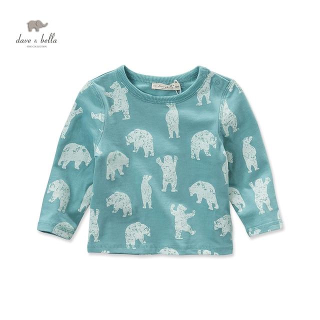 DB3827 davebella autumn baby boys green t-shirt kids bear printed  tops boys cotton tees