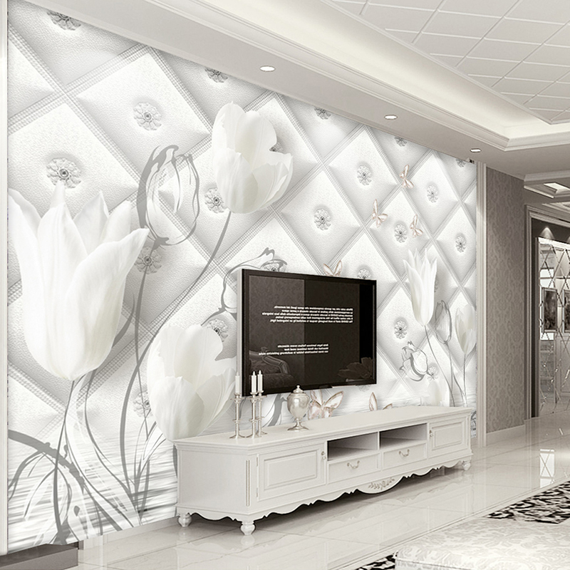 Custom 3D Photo Wallpaper Modern European Style White Calla Lily Flower Stereo Soft Bag TV Background Wall Paper Mural De Parede the ivory white european super suction wall mounted gate unique smoke door
