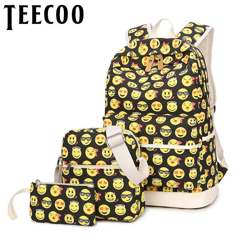 High Quality Smile Emotion Emoji Backpack Waterproof Set Backpack Women Rucksacks School Bags for Girls Mochila Escolar Packbag