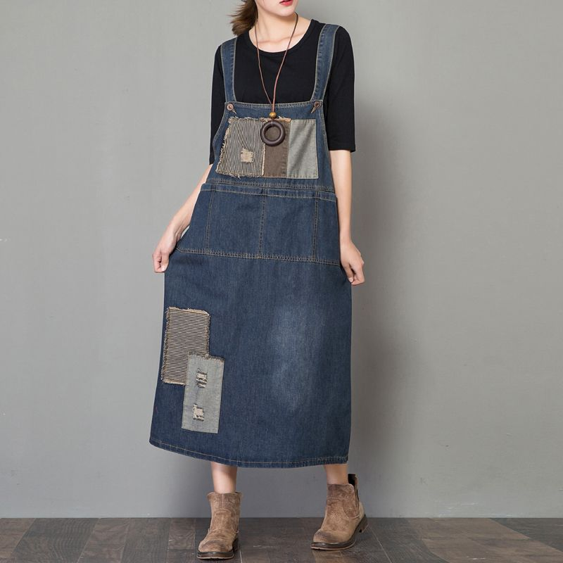 Maxi Suspenders Denim Dress Ladies hip hop streetwear Baggy Jeans Dresses Casual Loose Rompers cowboy Dress