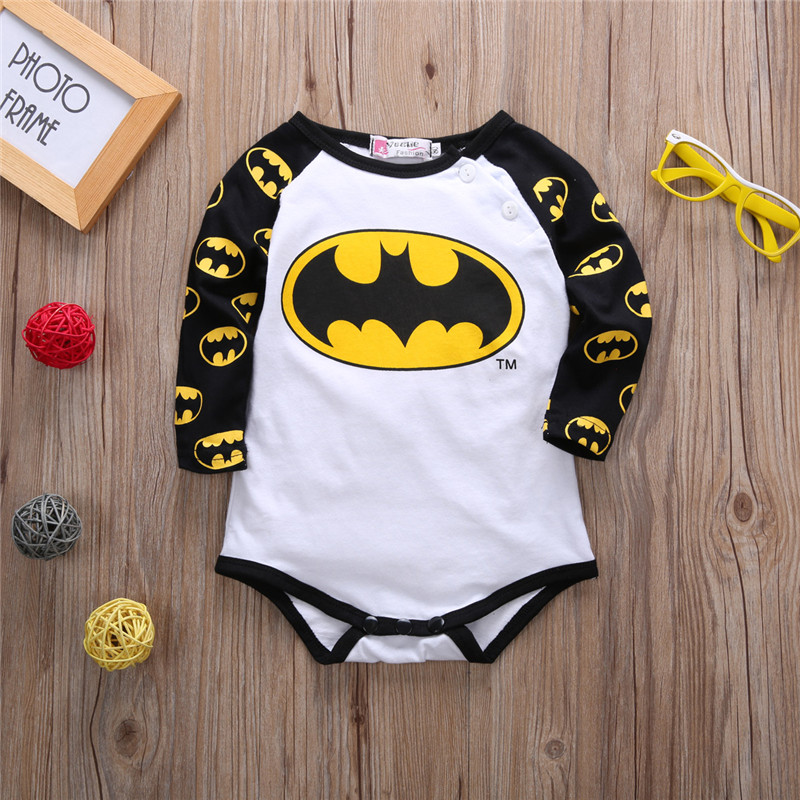 Europe Style kawaii rompers funny super hero cartoon Long sleeve newborn footies fashion boy girl clothing