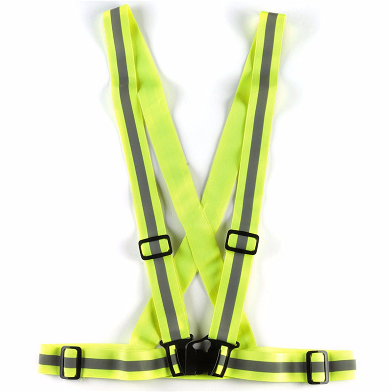 High Quality Unisex Safety Reflective Cycling Yellow Fluro Bike Visability Crossover Vest Top New Arrival