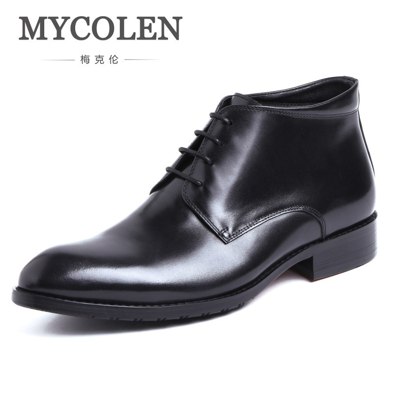 MYCOLEN Men Shoes Genuine Leather Mens Winter Business Black Ankle Boots Army Work Safety Causal Waterproof Male Booties mycolen genuine leather men boots winter british style causal classic lace up shoes botas mens minimalist design ankle boot