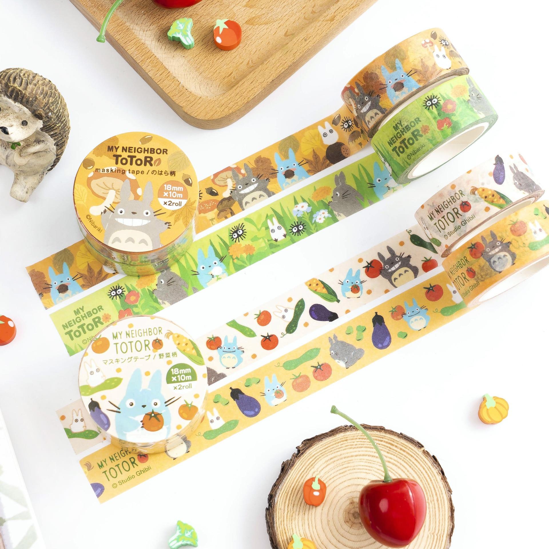 2 Pcs/pack 1.8cm Cartoon Totoro Bullet Journal Washi Tape Set Adhesive Tape DIY Scrapbooking Sticker Label Masking