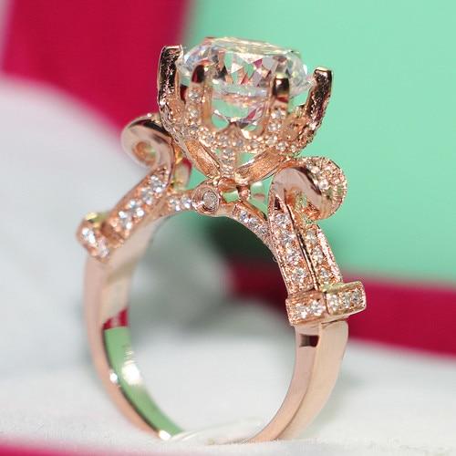 THREEMAN бренд качество роскошные Твердые 585 розовое золото 3CT синтетические бриллианты золото Женское Обручальное Кольцо лучшее ТВЕРДОЕ ЗОЛОТО предложение кольцо