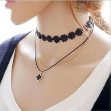 European Models Fashion Velvet Lace Neckband Collar Women Short Clavicle Chain Necklace Punk Lolita Necklace(China)