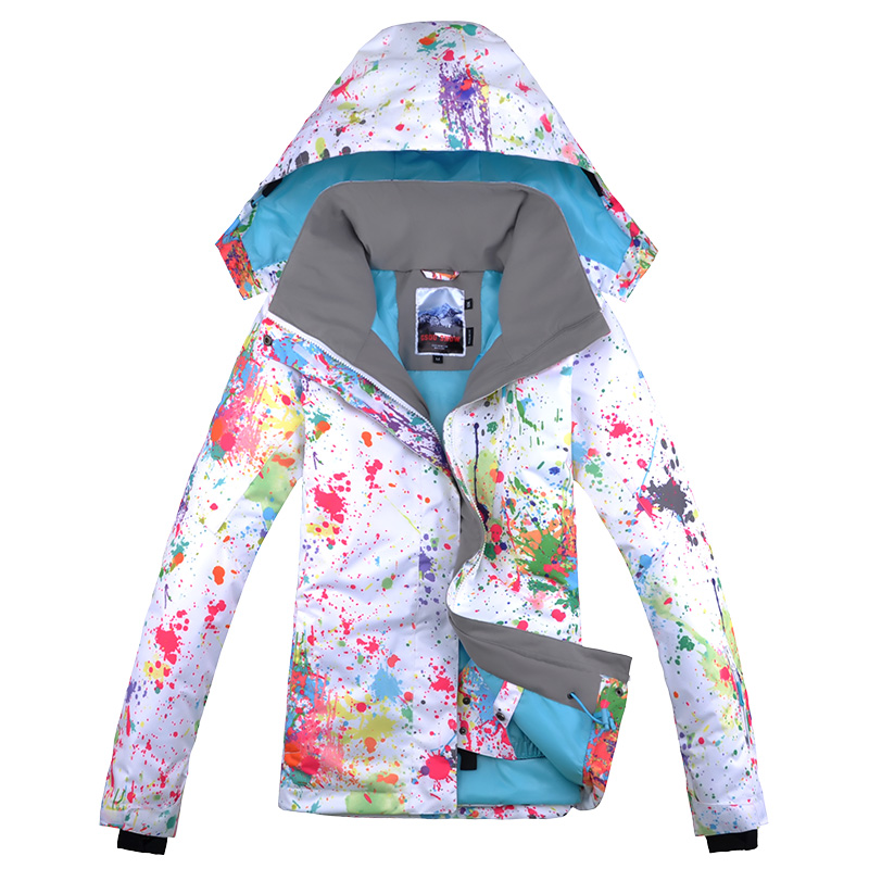 Gsou neige coloré ski costume femme snowboard veste veste ski femme hiver veste femme ski veste skiwear chaud esqui - 5