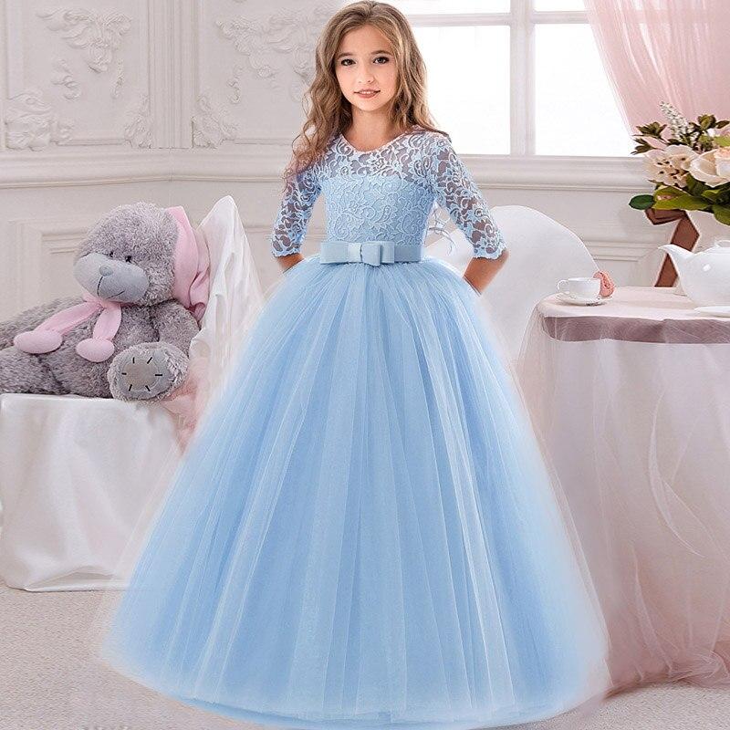 Кружевное платье с длинными рукавами для девочек, держащих букет невесты на свадьбе, на день рождения, банкет Элегантное Длинное белое кружевное платье с бабочкой для девочек - Цвет: shy blue