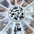 12 Shapes 3D Metal Christmas Nail Art Decoration Slice Black Nail Stickers Decal Foil Wheel NEW