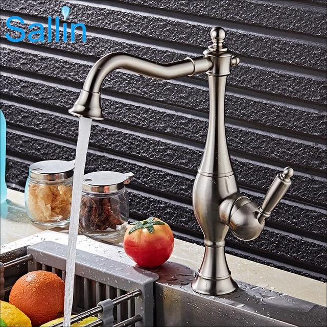 Luxury Brushed Nickel/Black/Gold Kitchen Faucet Mixer Vintage ...