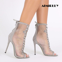 Aimirlly Women High Heel Sandals Ankle boots Open toe Mesh Booties Lace Up Back Zipper Grey/Black Spring Autumn Heels mixed colors mesh leather women open toe ankle boots sexy lace up side ladies high heel boots zipper back fashion dress shoes