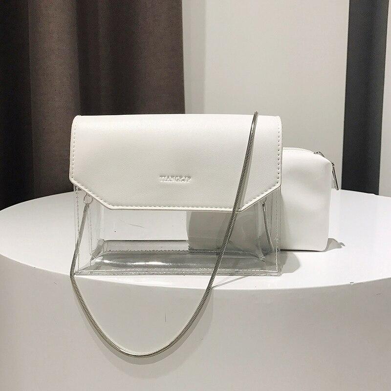 Дропшиппинг комплекты Для женщин сумка бренд женской сумки Высокое качество из искусственной кожи прозрачная сумка + клатч модные повседне...